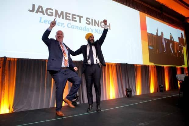 NDP Leader Jagmeet Singh (right) with B.C. Premier John Horgan in 2019. The federal NDP experienced a spike in support in B.C. coinciding with the provincial B.C. NDP's election victory.