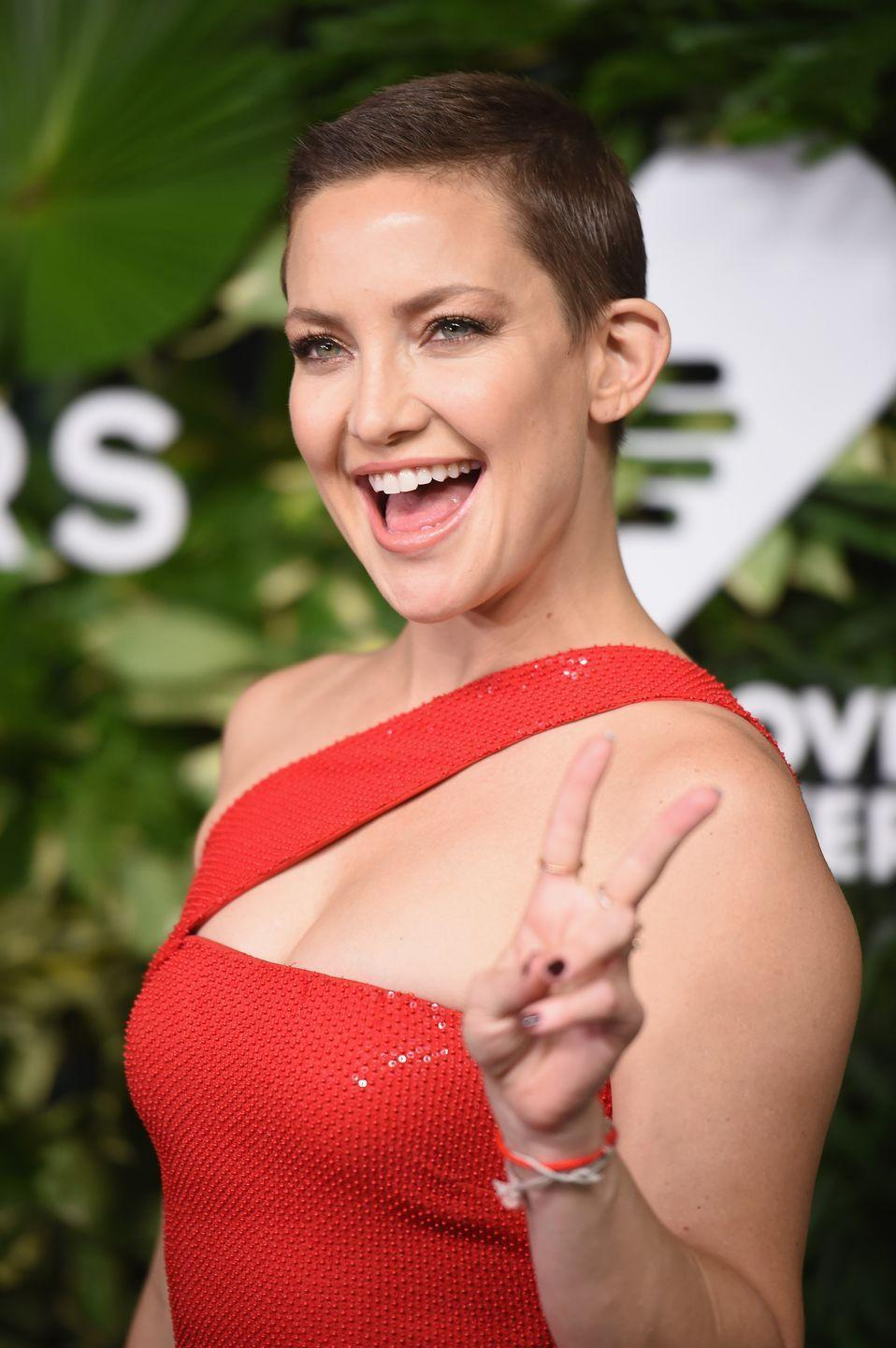 <p>When it was recommended that Kate Hudson shave her head for her role in <em>Music</em>, the actress fully embraced the challenge. Hudson traded her blonde waves for a brunette buzz cut in 2017. </p>
