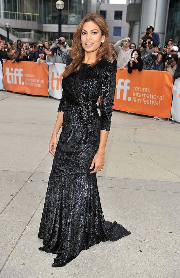 """Although she was completely covered in her Andrew Gn Fall 2010 frock, actress Eva Mendes was smokin' hot at the premiere of her new flick, """"Last Night,"""" at the Toronto Film Festival. George Pimentel/<a href=""""http://www.wireimage.com"""" target=""""new"""">WireImage.com</a> - September 18, 2010"""