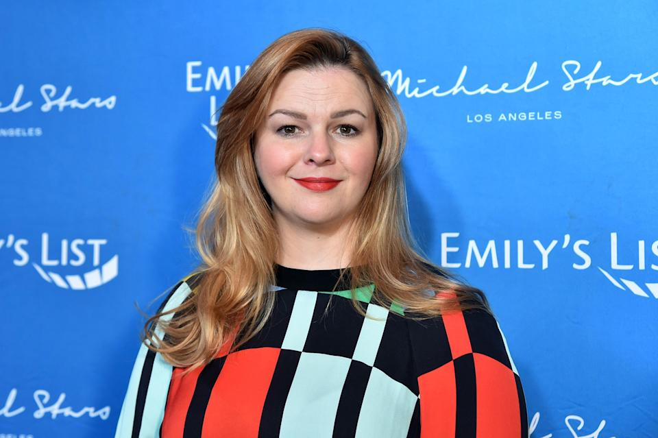 Amber Tamblyn (pictured in February) has designed a MAGA-inspired mask for NARAL Pro-Choice America. (Photo: Alberto E. Rodriguez/Getty Images)