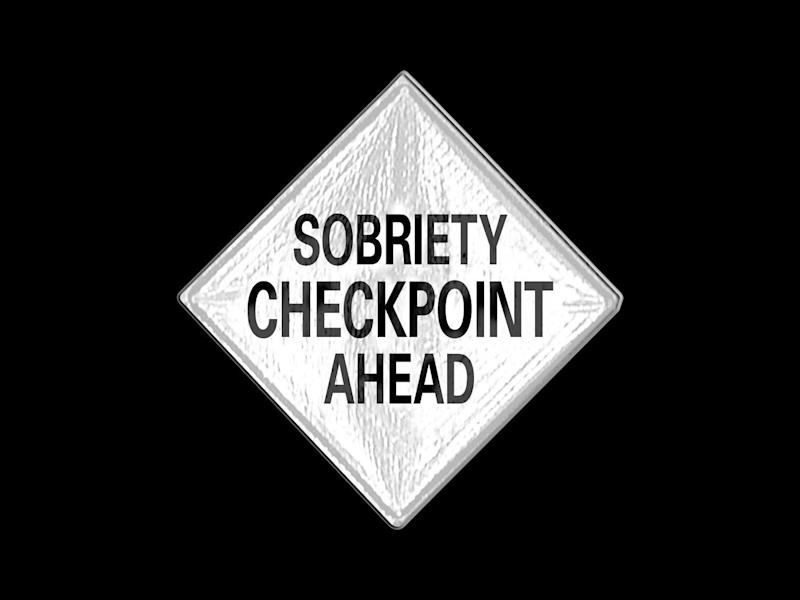 SOBRIETY CHECKPOINT AHEAD road sign, drawing, graphic element on black