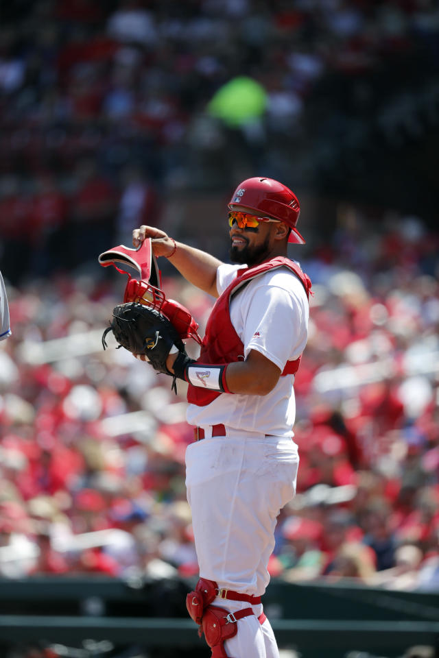 St. Louis Cardinals catcher Francisco Pena takes up his position behind the plate during the fourth inning of a baseball game against the New York Mets Thursday, April 26, 2018, in St. Louis. (AP Photo/Jeff Roberson)