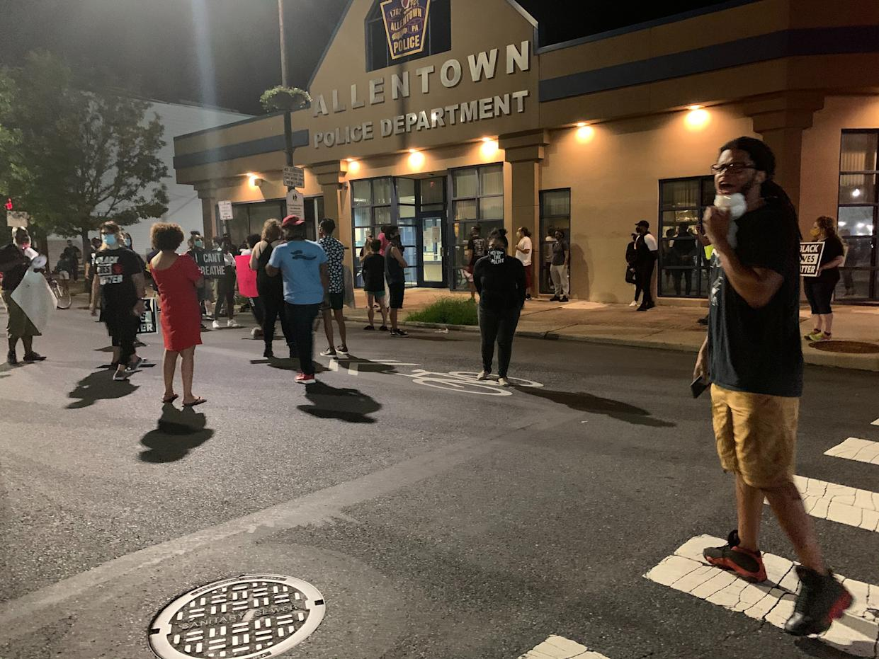 Protesters blocked off the block of Hamilton Street in front of the Allentown Police Department, waiting for authorities to respond to them.