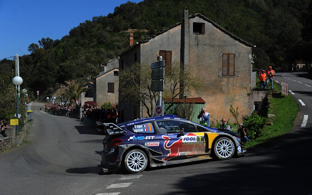 Sebastien Ogier of France and Julien Ingrassia of France compete in their M-Sport WRT Ford Fiesta WRC during Day Two of the WRC France on April 8, 2017 in Ajaccio, France