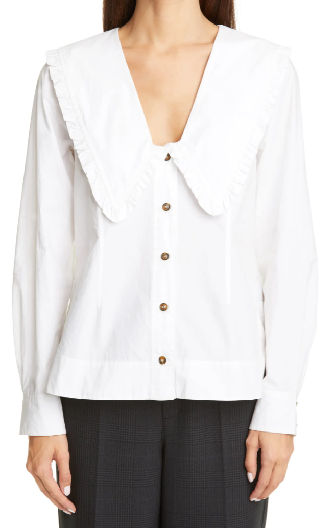 GANNI Ruffle Collar Cotton Poplin Shirt