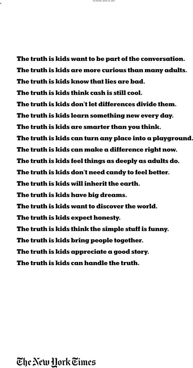 """The May 17 Kids section included a child-friendly version of the newspaper's """"<span>Truth is Hard</span>"""" brand campaign. (The New York Times)"""