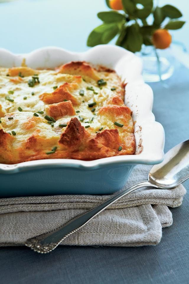 """<p><strong>Recipe: <a href=""""https://www.southernliving.com/syndication/creamy-egg-strata"""" target=""""_blank"""">Creamy Egg Strata</a></strong></p> <p>This is one of those mouthwatering breakfast dishes that's well worth the planning. Chill in your fridge so the French bread has time to soak up the butter, Parmesan and Swiss cheese, chicken broth, white wine, and sour cream. </p>"""