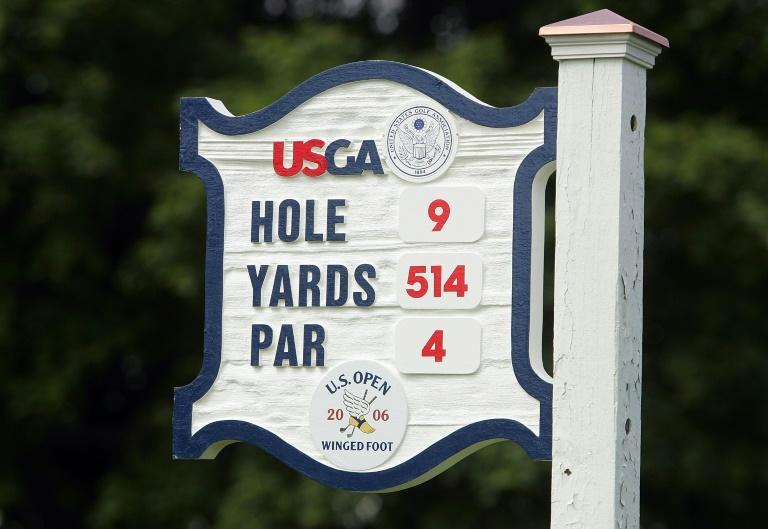 There will be fewer people to see signs such as this one on tee boxes at Winged Foot after the US Golf Association said Wednesday there would be no spectators allowed at the US Open on the suburban New York course in September (AFP Photo/Scott Halleran)