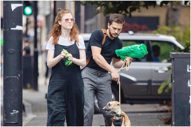 Kit Harrington and Rose Leslie Step Out in Style for a Walk with Their Dog