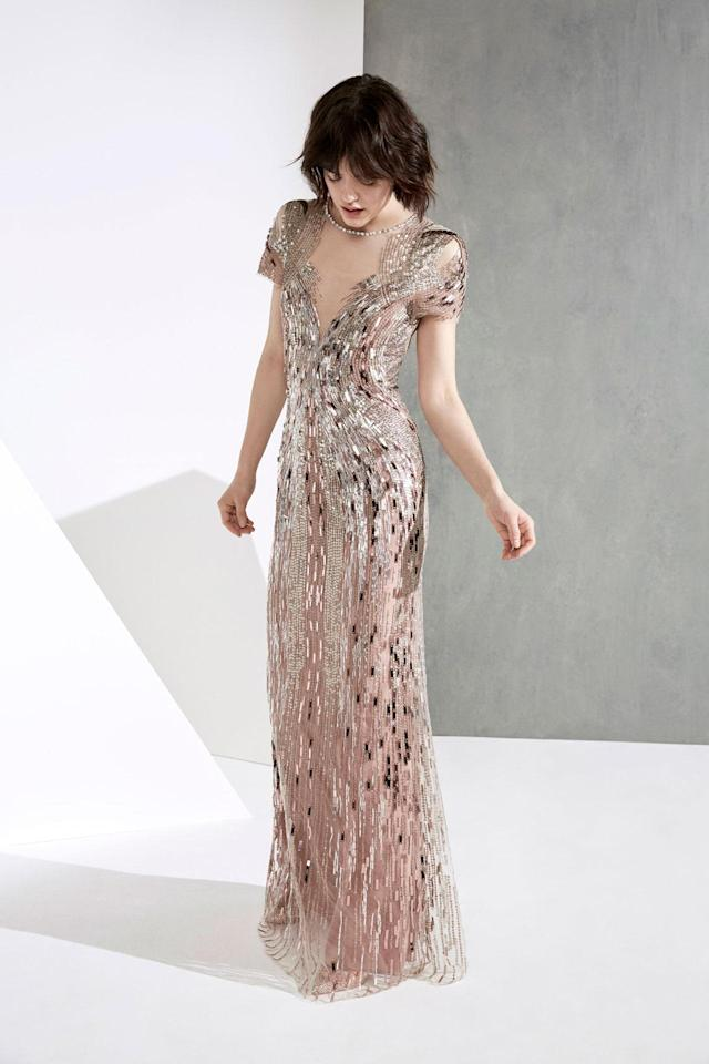 <p>A metallic, rose, embellished dress from the Jenny Packham FW18 collection. (Photo: Courtesy of Jenny Packham) </p>
