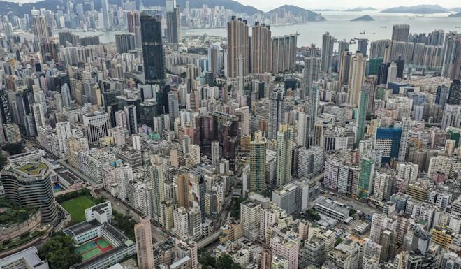 An aerial view of residential and commercial buildings near Prince Edward, in Mong Kok district. Photo: Martin Chan