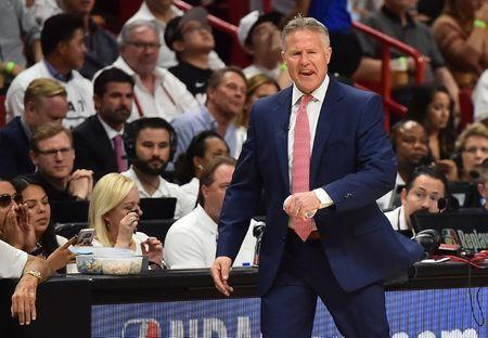 Apr 19, 2018; Miami, FL, USA; Philadelphia 76ers head coach Brett Brown reacts in the game against the Miami Heat during the first half in game three of the first round of the 2018 NBA Playoffs at American Airlines Arena. Mandatory Credit: Jasen Vinlove-USA TODAY Sports