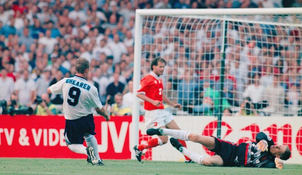 Alan Shearer scores for England against the Netherlands at Wembley in 1996.