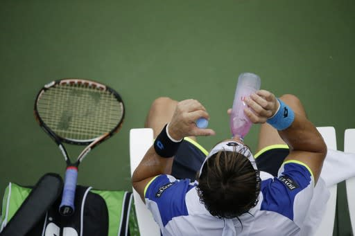David Ferrer, of Spain, takes a drink between games against Janko Tipsarevic, of Serbia, during the fourth round of the 2013 U.S. Open tennis tournament, Monday, Sept. 2, 2013, in New York. (AP Photo/David Goldman)