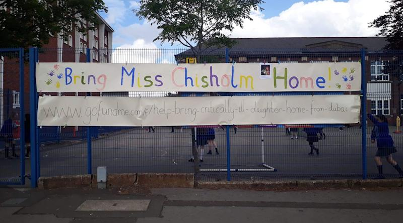 St Clare's RC Primary School in Manchester, where Rebecca used to work before she went to Dubai, show their support. (GoFundMe)