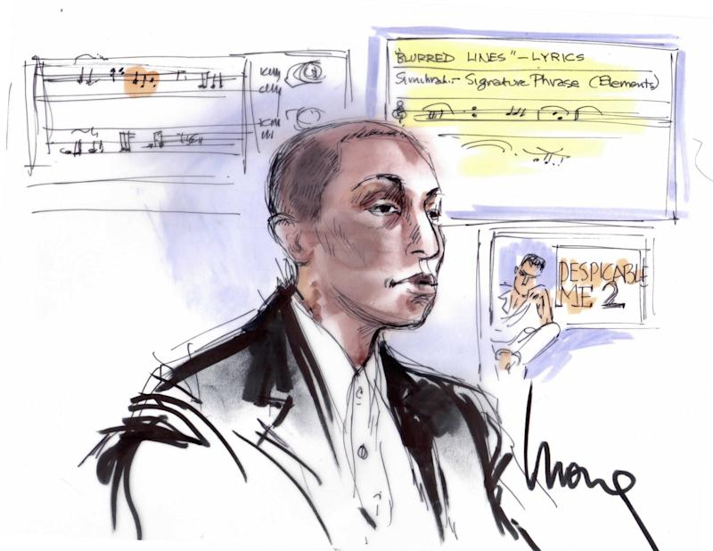 """In 2015, Pharrell Williams took part in an eight-day trial with Robin Thicke whose jury ultimately decided that their single """"Blurred Lines,"""" which made $16 million in profits, borrowed just a little too much from Martin Gaye's """"Got to Give It Up."""" Evidently, he took the trial very, very seriously: It was one of the only time he took care to leave his trademark camo blazers and murses at home."""