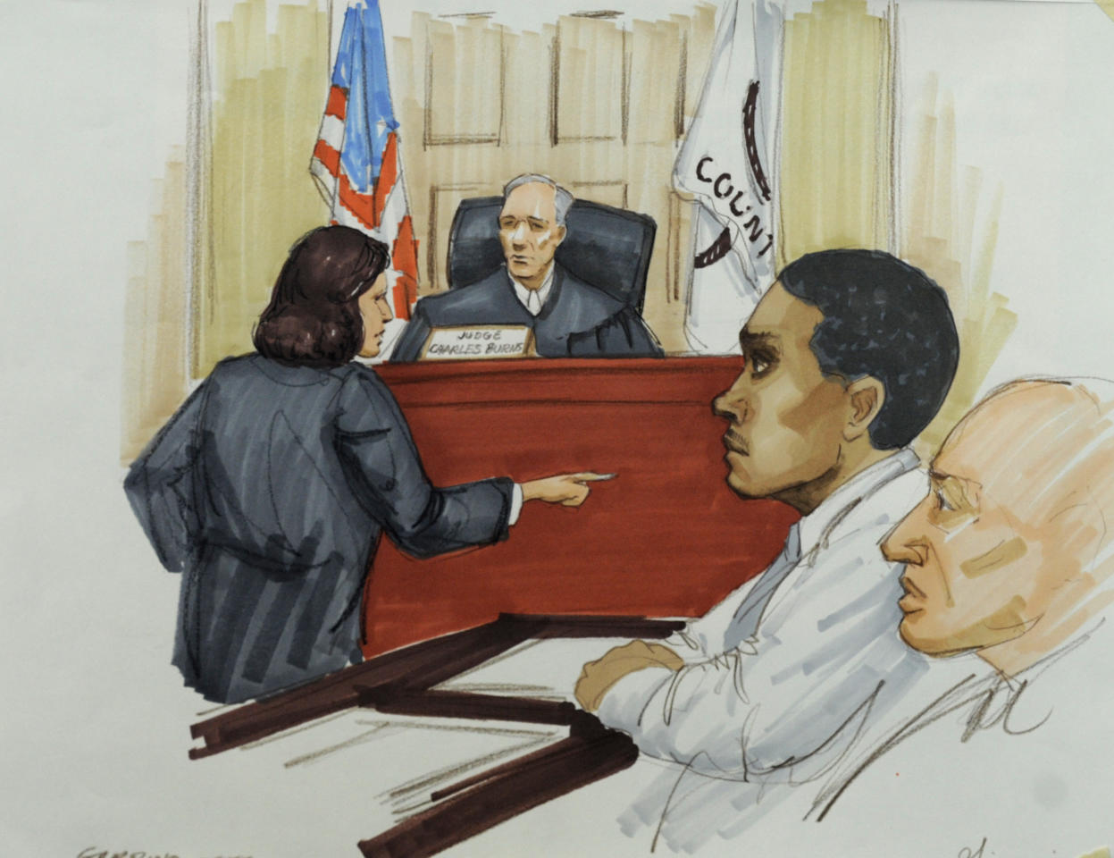 In this courtroom sketch, Willam Balfour, second from right, listens as Assistant State's Attorney Veryl Gambino gives opening statements before Cook County Judge Charles Burns at Balfour's murder trial, Monday, April 23, 2012, in Chicago. Balfour is charged with three counts of first-degree murder in the October 2008 killings of singer and actress Jennifer Hudson's mother, brother and nephew. Seated next to Balfour is defense attorney Edward Kozoboski. (AP Photo/Tom Gianni)