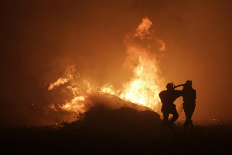 Firemen seek to control a blaze at Pietracorbara on August 11, 2017, on the French island of Corsica