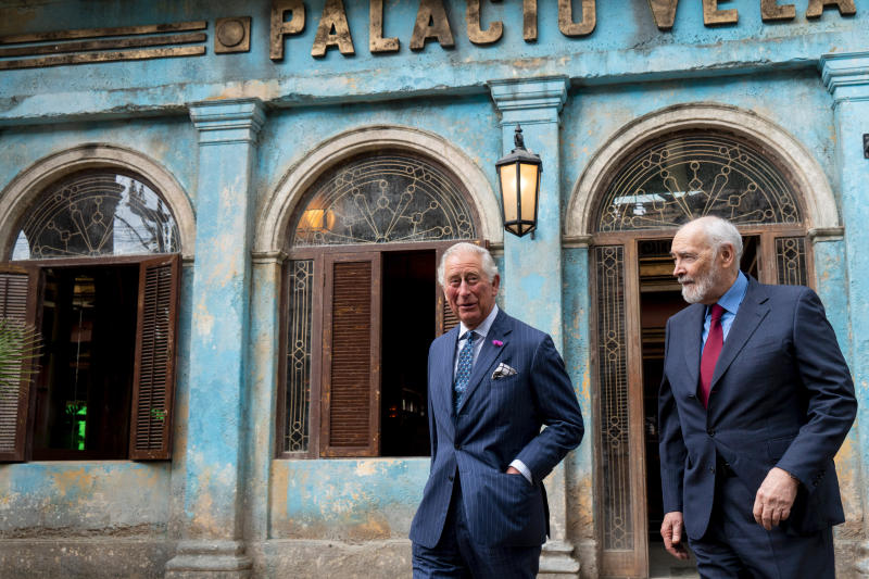 IVER HEATH, ENGLAND - JUNE 20: Britain's Prince Charles (L), Prince of Wales tours the set of the 25th James Bond Film with producer Michael G. Wilson at Pinewood Studios on June 20, 2019 in Iver Heath, England. The Prince of Wales, Patron, The British Film Institute and Royal Patron, the Intelligence Services toured the set of the 25th James Bond Film to celebrate the contribution the franchise has made to the British film industry. (Photo by Niklas Halle'n - WPA Pool/Getty Images)