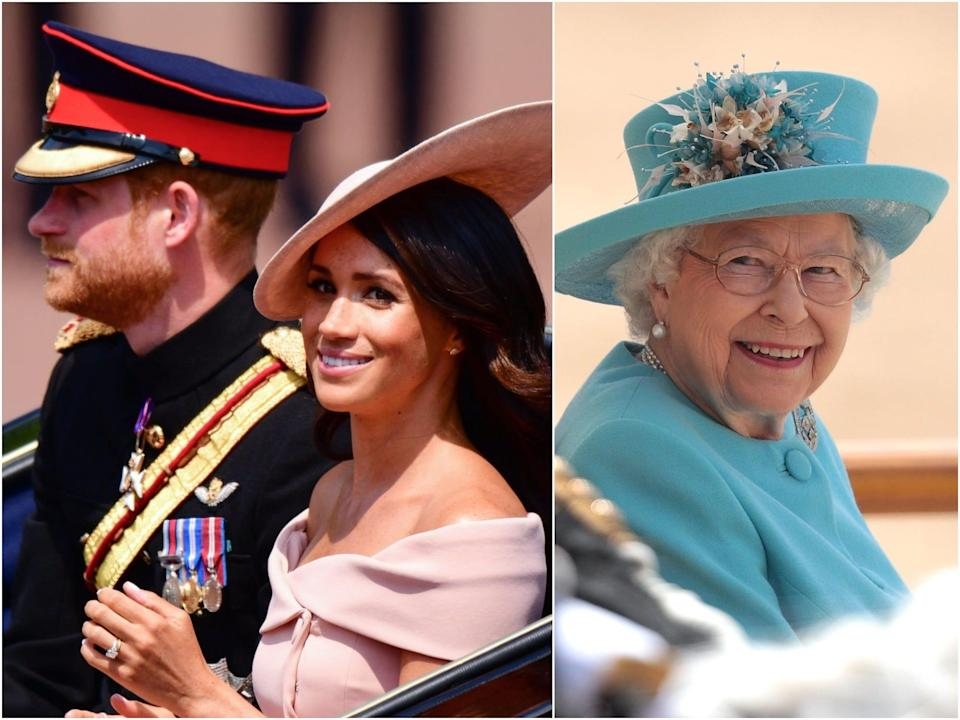 harry, meghan and queen birthday parade