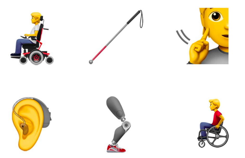 The Emoji update includes some new representations of various disabilities [Photo: Emojipedia]