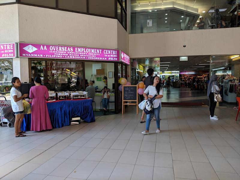 A maid agency at City Plaza, a popular gathering spot for Indonesian FDWs on their days off. One of CDE's three satellite offices is located on the second floor. (PHOTO: Wong Casandra/Yahoo News Singapore)