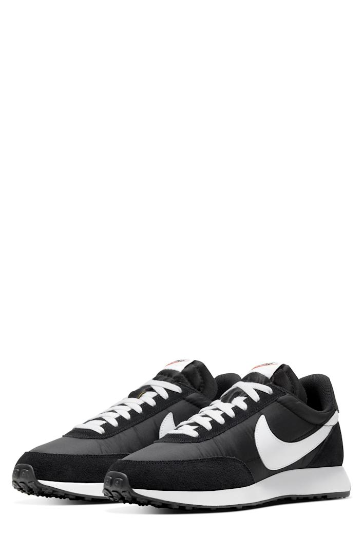 """<p><strong>Nike</strong></p><p>nordstrom.com</p><p><strong>$64.90</strong></p><p><a href=""""https://go.redirectingat.com?id=74968X1596630&url=https%3A%2F%2Fwww.nordstrom.com%2Fs%2Fnike-air-tailwind-79-sneaker-men%2F6422084&sref=https%3A%2F%2Fwww.bestproducts.com%2Ffitness%2Fg37158206%2Fnordstroms-anniversary-sale-best-sneakers%2F"""" rel=""""nofollow noopener"""" target=""""_blank"""" data-ylk=""""slk:BUY IT HERE"""" class=""""link rapid-noclick-resp"""">BUY IT HERE</a></p><p><del>$90</del><strong><br>$64.90</strong></p><p>Those who want to have the athletic look at all hours of the day will love wearing these sleek sneaks from Nike. Style them with your favorite jeans or a pair of <a href=""""https://www.menshealth.com/style/g36097646/mens-gym-shorts/"""" rel=""""nofollow noopener"""" target=""""_blank"""" data-ylk=""""slk:gym shorts"""" class=""""link rapid-noclick-resp"""">gym shorts</a>—you won't go wrong here.</p>"""