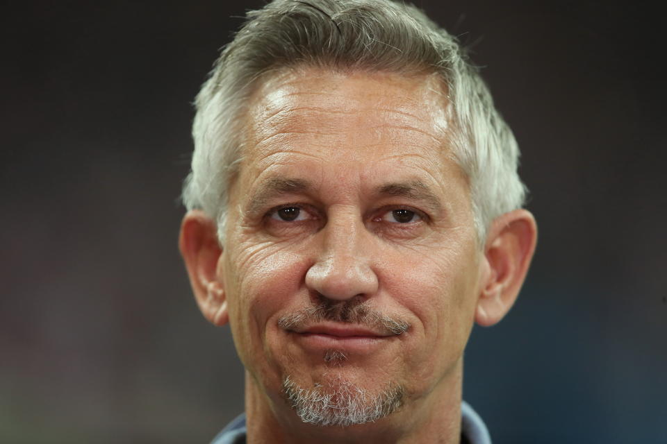 MOSCOW, RUSSIA - JULY 11: BBC Match of the day presenter Gary Lineker during the 2018 FIFA World Cup Russia Semi Final match between England and Croatia at Luzhniki Stadium on July 11, 2018 in Moscow, Russia. (Photo by Matthew Ashton - AMA/Getty Images)