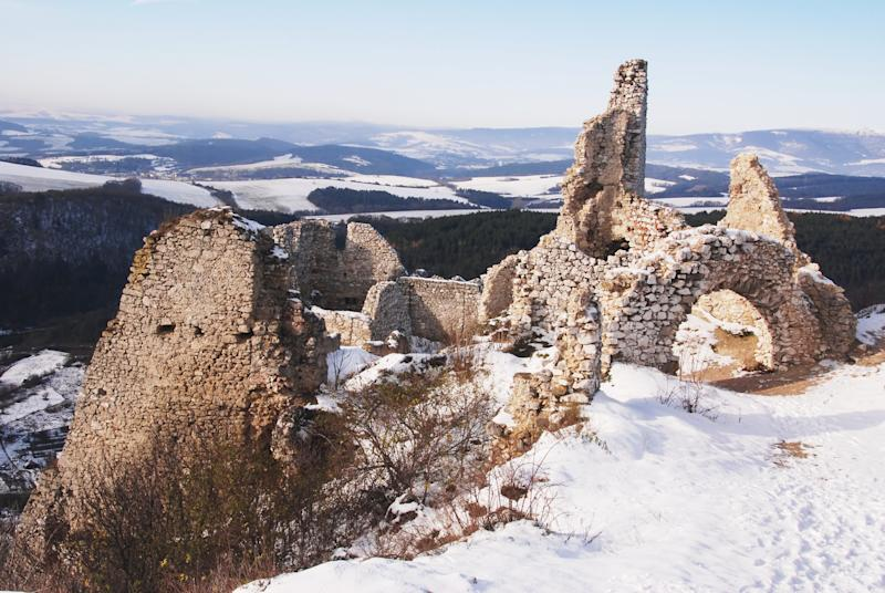 Ruins of medieval castle in cahtice which is famous of countess Bathory