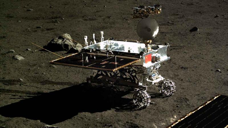 An artistic representation of the Chang'e-4 rover on the moon. Image: CNSA