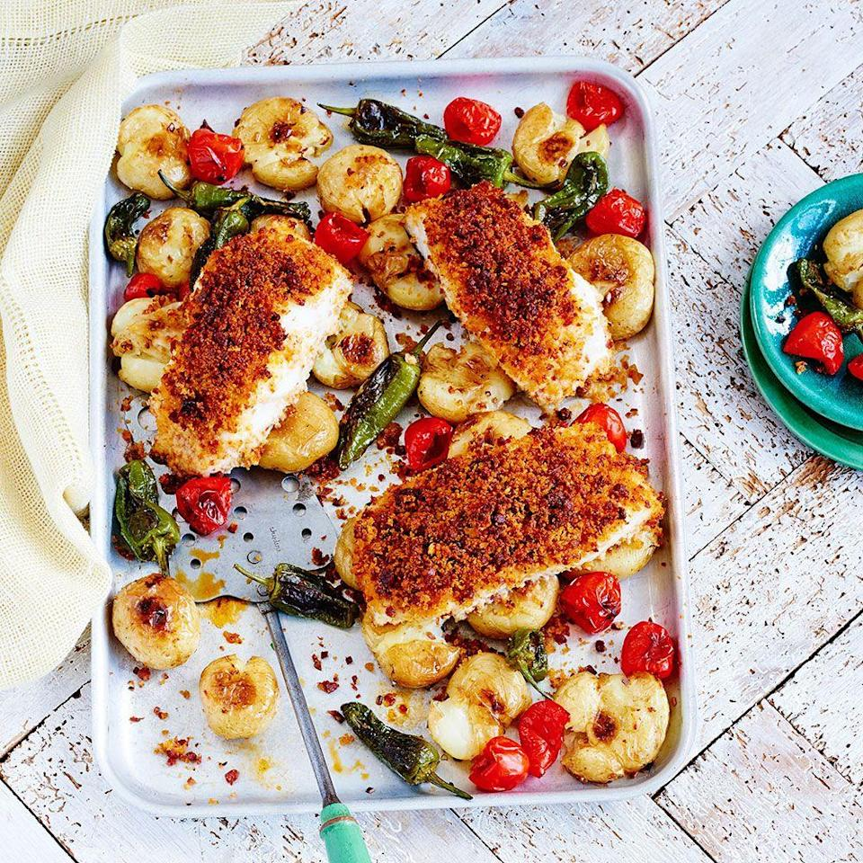 """<p>We've added chorizo to this fish tray bake for extra flavour.</p><p><strong>Recipe: <a href=""""https://www.goodhousekeeping.com/uk/food/recipes/a571751/cod-chorizo-traybake/"""" rel=""""nofollow noopener"""" target=""""_blank"""" data-ylk=""""slk:Cod and chorizo tray bake"""" class=""""link rapid-noclick-resp"""">Cod and chorizo tray bake</a></strong></p>"""