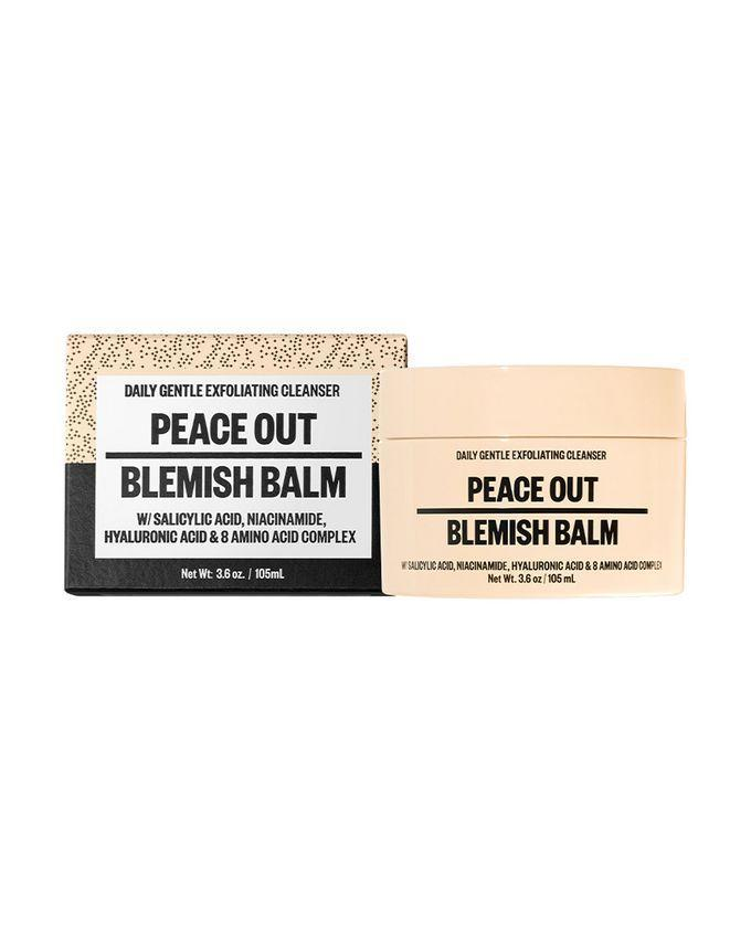 """<a href=""""https://www.cultbeauty.co.uk/peace-out-blemish-balm.html#af=brand%3apeaceout&cip=86.171.172.252&isort=globalpop&lgkey=https%3a%2f%2fwww.cultbeauty.co.uk%2fpeace-out-blemish-balm.html&lgsku=PEA009&lot=json&method=and&p=R&rk=6&rsc=b2ENtahKXKfa6WIA&ts=json-full-uk&ua=Mozilla%2f5.0%20%28Macintosh%3b%20Intel%20Mac%20OS%20X%2010_15_7%29%20AppleWebKit%2f605.1.15%20%28KHTML%2c%20like%20Gecko%29%20Version%2f14.1.1%20Safari%2f605.1.15&uid=850366599&url=https%3a%2f%2fwww.cultbeauty.co.uk%2fpeace-out-blemish-balm.html&w=*#clktrack&type=product&list=brand&rk=5"""" rel=""""nofollow noopener"""" target=""""_blank"""" data-ylk=""""slk:Peace Out Blemish Balm, £20"""" class=""""link rapid-noclick-resp""""><strong><h2>Peace Out Blemish Balm, £20</h2></strong></a><br>As someone with <a href=""""https://www.refinery29.com/en-gb/dry-vs-dehydrated-skin"""" rel=""""nofollow noopener"""" target=""""_blank"""" data-ylk=""""slk:normal-to-dry skin"""" class=""""link rapid-noclick-resp"""">normal-to-dry skin</a> that can get very <a href=""""https://www.refinery29.com/en-gb/best-products-for-sensitive-skin"""" rel=""""nofollow noopener"""" target=""""_blank"""" data-ylk=""""slk:sensitive"""" class=""""link rapid-noclick-resp"""">sensitive</a>, I was pretty apprehensive about trying this thick, exfoliating cleanser as I feel like I've just found my groove with light, gel-like formulas. <br><br>I was pleasantly surprised by the Blemish Balm, though. A small amount massaged into damp skin forms a lather and I really did feel like the little exfoliating particles were doing their job, gently breaking down and washing away excess oil and dirt. Afterwards, my skin felt refreshed but not tight and uncomfortable (often the case with dry skin). A few days of use even smoothed the stubborn texture on my jaw and chin. Come evening though, it did nothing to dislodge my makeup, even after a good few minutes of massaging it in.<br> <br>I'll definitely continue using the Blemish Balm a few days a week in the morning to wake up my skin and prep it for the day. By night, I'll be sticking"""