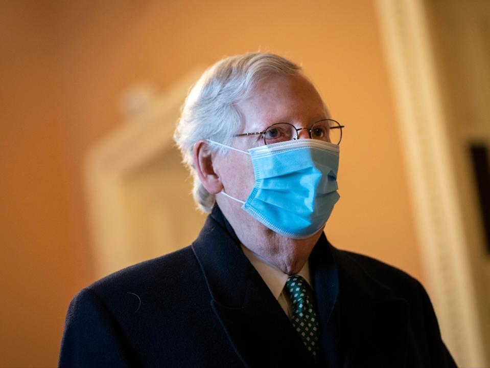 <p>File: Senate Minority Leader Mitch McConnell arrives at his office on the third day of former President Donald Trump's second impeachment trial</p> (Getty Images)