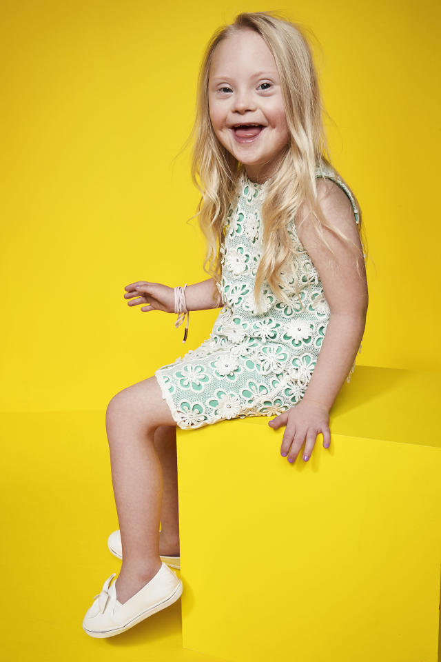 Cora, who has Down syndrome, poses up a storm in the latest campaign. (Photo: River Island)