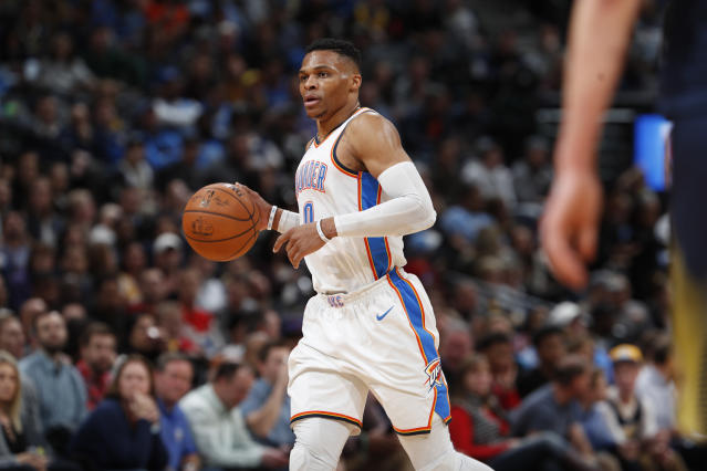 "<a class=""link rapid-noclick-resp"" href=""/nba/players/4390/"" data-ylk=""slk:Russell Westbrook"">Russell Westbrook</a> believes in the latest incarnation of the Thunder. (AP)"