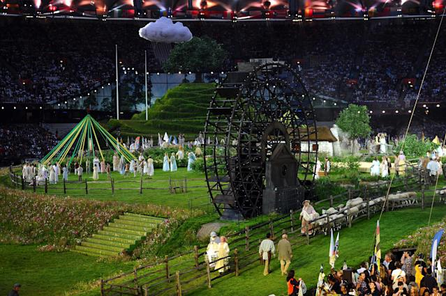 LONDON, ENGLAND - JULY 27: A general view of the the set depicting the English countryside during the Opening Ceremony of the London 2012 Olympic Games at the Olympic Stadium on July 27, 2012 in London, England. (Photo by Laurence Griffiths/Getty Images)