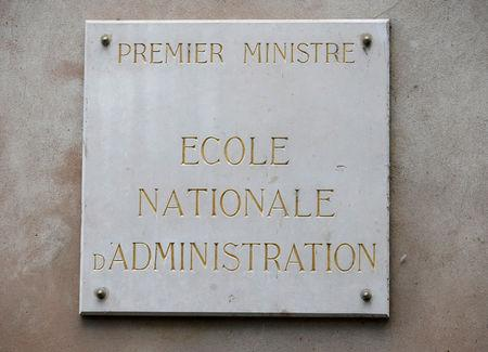 "A signe that reads ""Prime Minister, National School of Administration"" is seen on France's National School of Administration, ENA, (Ecole Nationale d'Administration) building in Strasbourg, France April 24, 2019. REUTERS/Vincent Kessler"