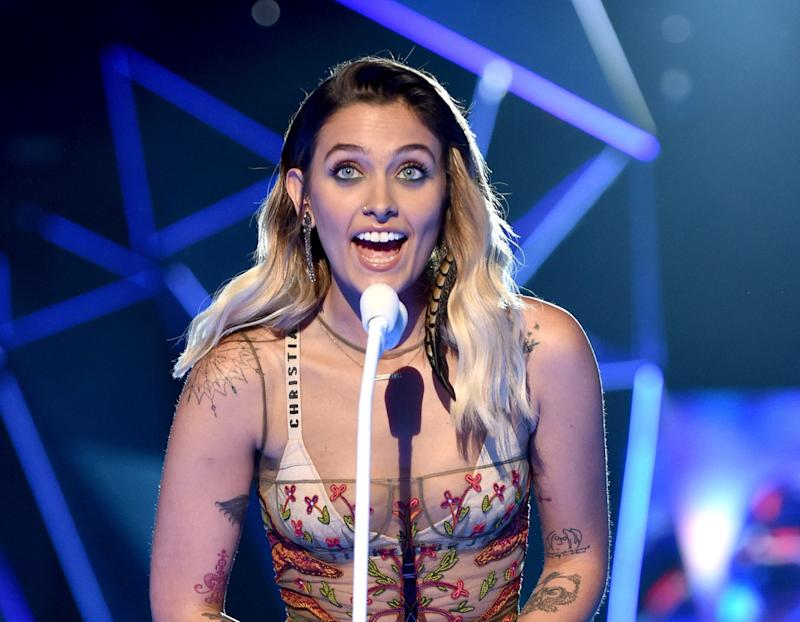 Paris Jackson speaks onstage during the 2017 MTV Video Music Awards.