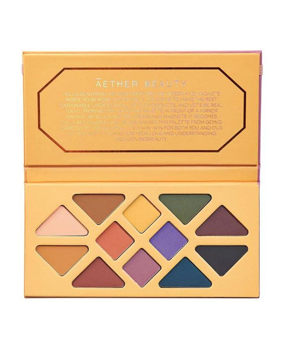"""<strong><h2>Āether Beauty</h2></strong><br>Āether Beauty founder Tiila Abbitt had one mission when her line hit the market last year: change the sustainable beauty game. The brand's three eyeshadow palettes are entirely recyclable as they're made out of paper and contain no magnets or mirrors. As you might expect, the shadows are also cruelty-free and vegan.<br><br><strong>Aether Beauty</strong> Joshua Tree Desert Matte Palette, $, available at <a href=""""https://go.skimresources.com/?id=30283X879131&url=https%3A%2F%2Fwww.neimanmarcus.com%2Fp%2Fathr-joshua-tree-desert-matte-palette-prod241550265%3F"""" rel=""""nofollow noopener"""" target=""""_blank"""" data-ylk=""""slk:Neiman Marcus"""" class=""""link rapid-noclick-resp"""">Neiman Marcus</a>"""