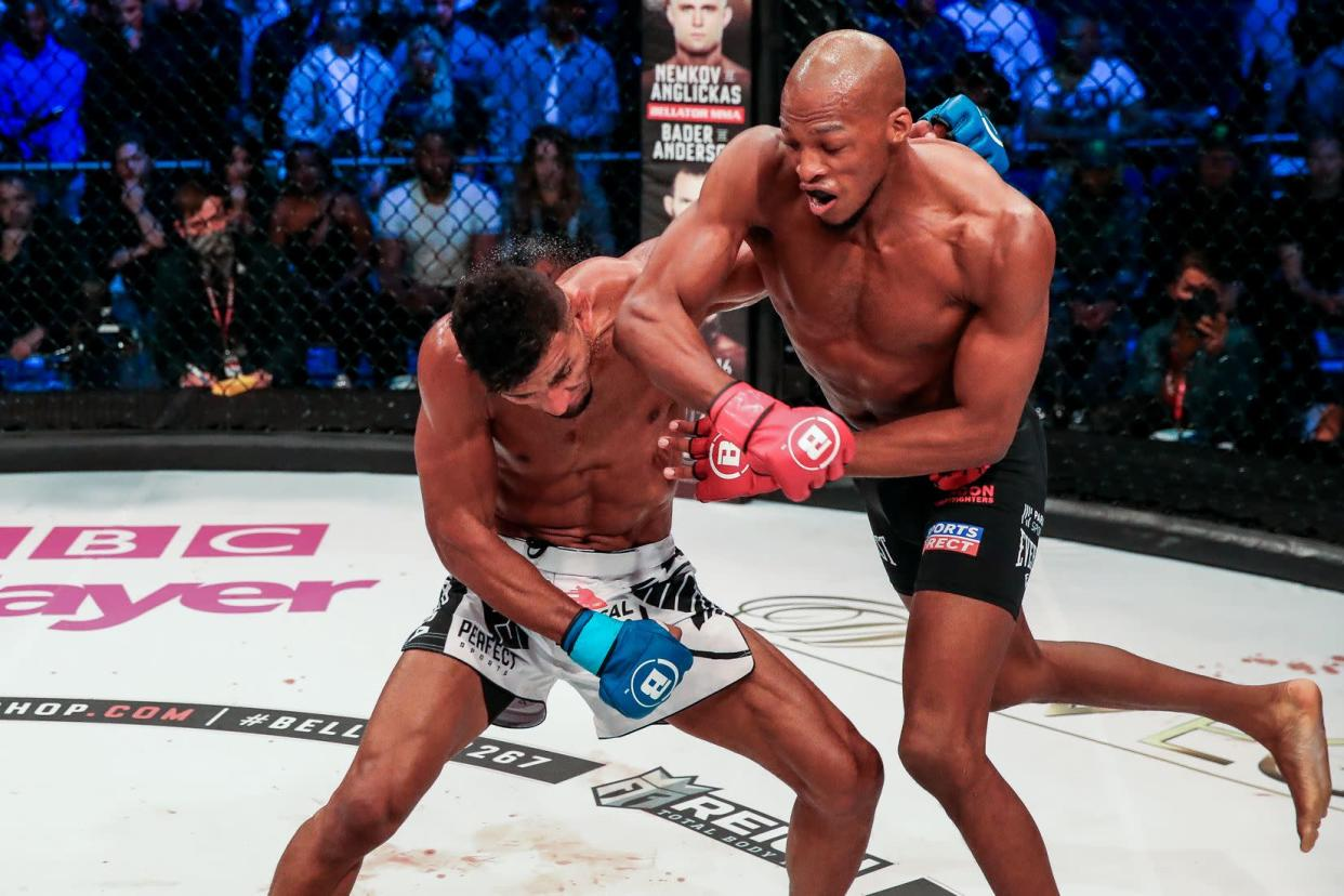 Michael Page (R) punches Douglas Lima during their welterweight matchup Saturday at SSE Arena, Wembley, in London. (Lucas Noonan / BELLATOR MMA)