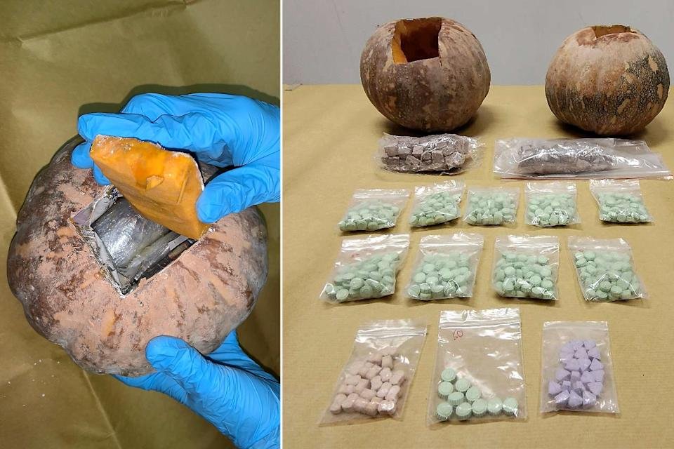 About 240g of heroin and about 500 'Ecstasy' tablets were found hidden inside two pumpkins at the suspect's residence in Clementi. (PHOTOS: CNB)