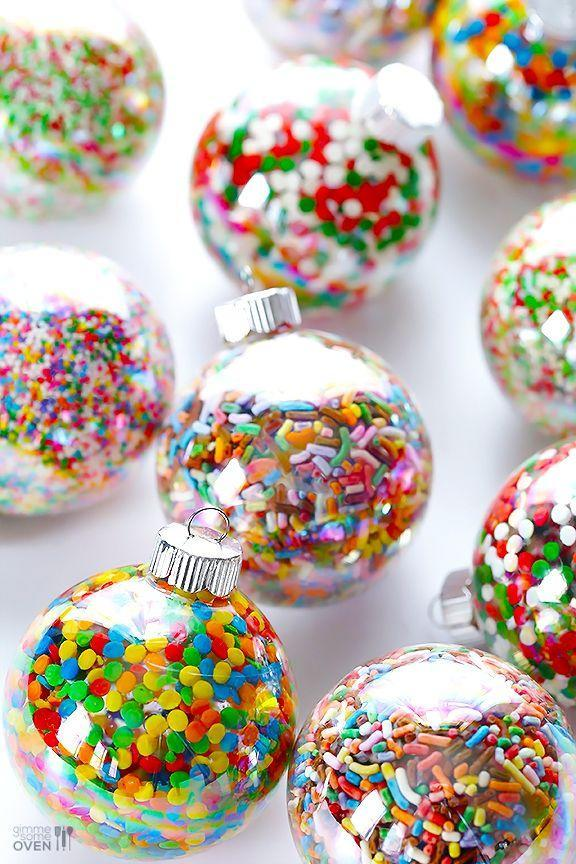 """<p>Literally, everything is better with sugar. Fill clear ornaments with sprinkles of your choosing, and you'll be set.</p><p>Get the tutorial at <a href=""""http://www.gimmesomeoven.com/diy/diy-sprinkles-ornaments/"""" rel=""""nofollow noopener"""" target=""""_blank"""" data-ylk=""""slk:Gimme Some Oven"""" class=""""link rapid-noclick-resp"""">Gimme Some Oven</a>.</p>"""