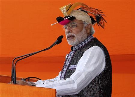Modi addresses his supporters during a rally in Itanagar