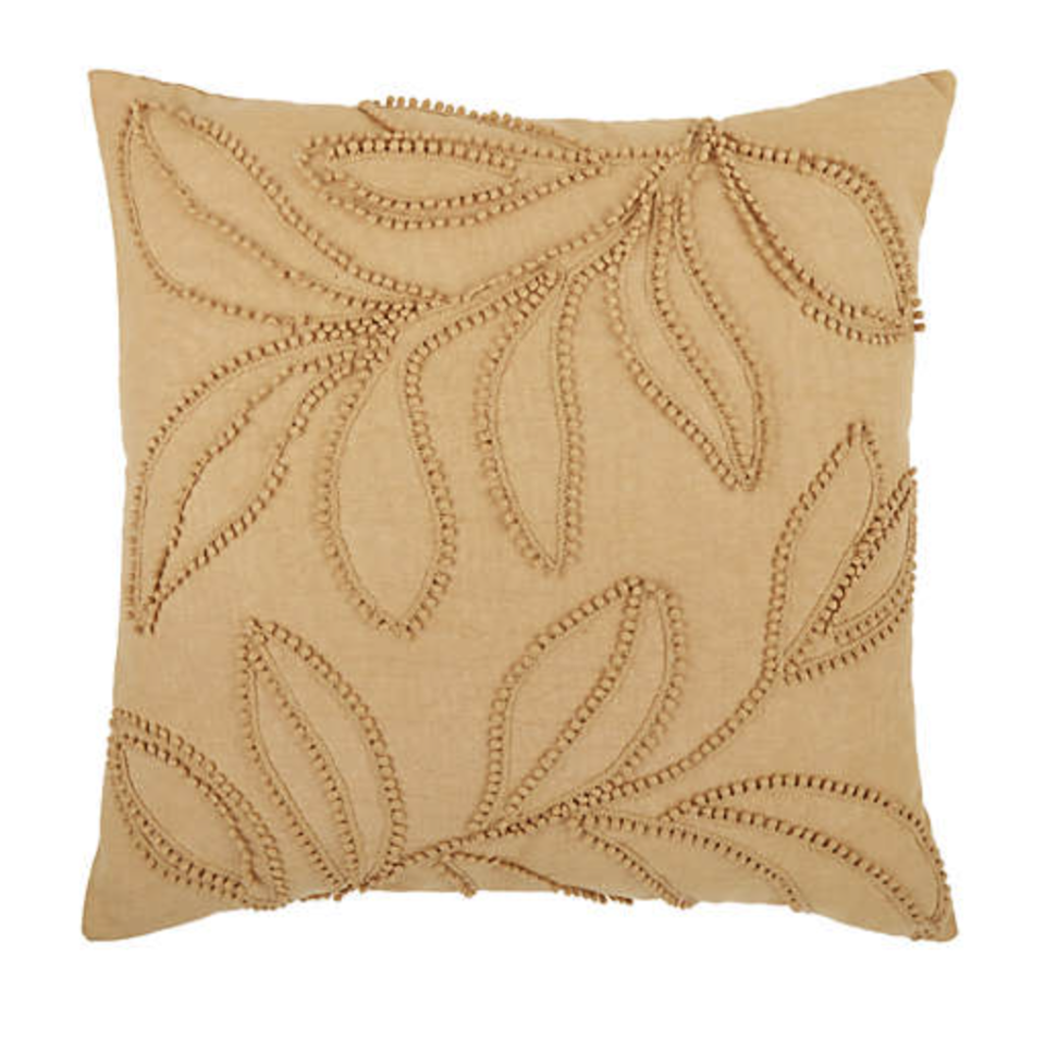 camel colour Bee & Willow Embroidered Botanical Square Throw Pillow