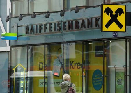 The logo of Raiffeisen Bank International is seen at a branch office in Vienna