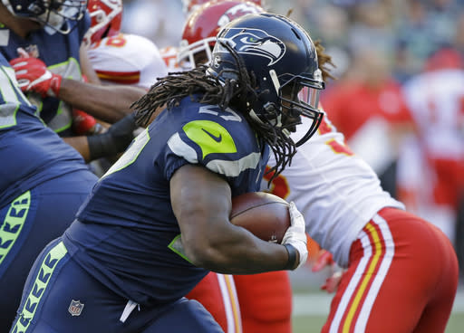 Seattle Seahawks running back Eddie Lacy is a healthy scratch against the 49ers. (AP)