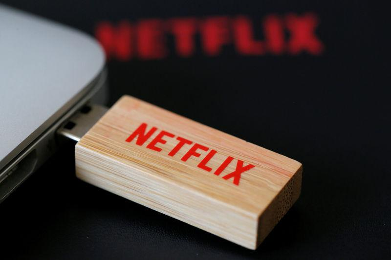 FILE PHOTO: An USB key with the logo of Netflix the American provider of on-demand Internet streaming media is seen in Paris