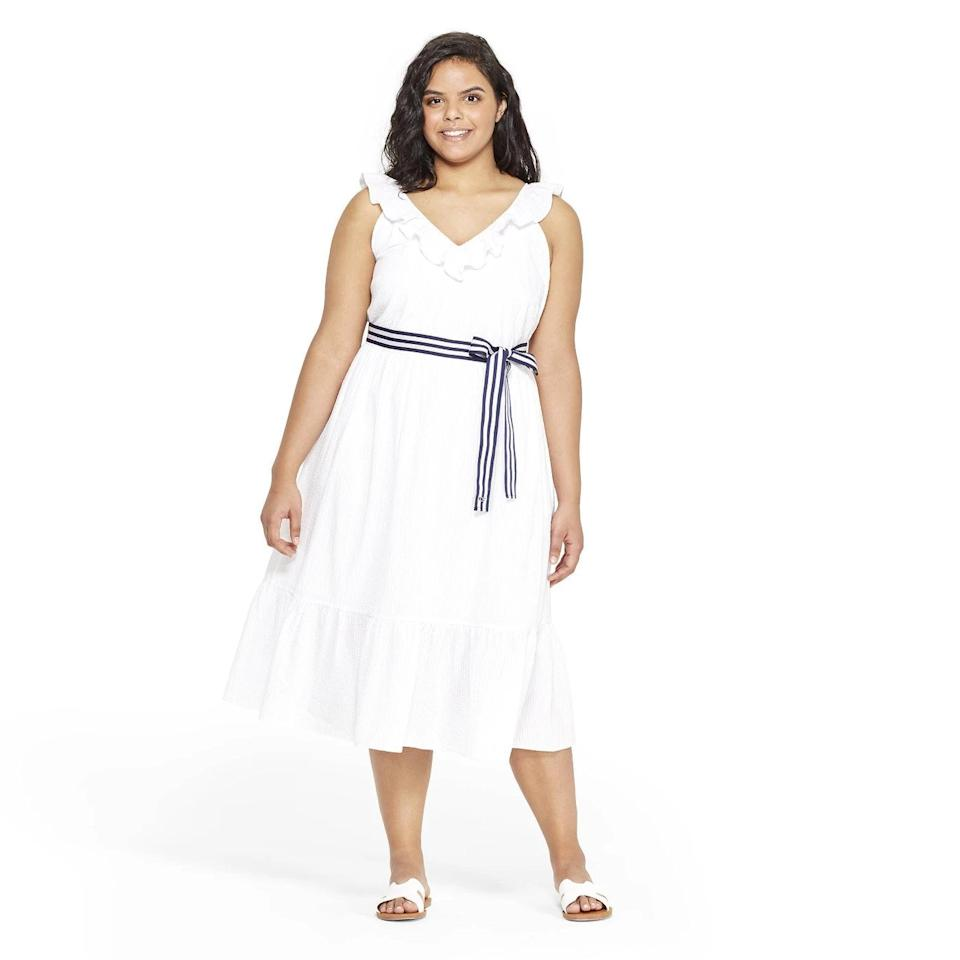 "$35, Target. <a href=""https://www.target.com/p/women-s-plus-size-sleeveless-ruffle-tie-waist-midi-v-neck-dress-white-vineyard-vines-174-for-target/-/A-54359279?preselect=54309221#lnk=sametab"">Get it now!</a>"