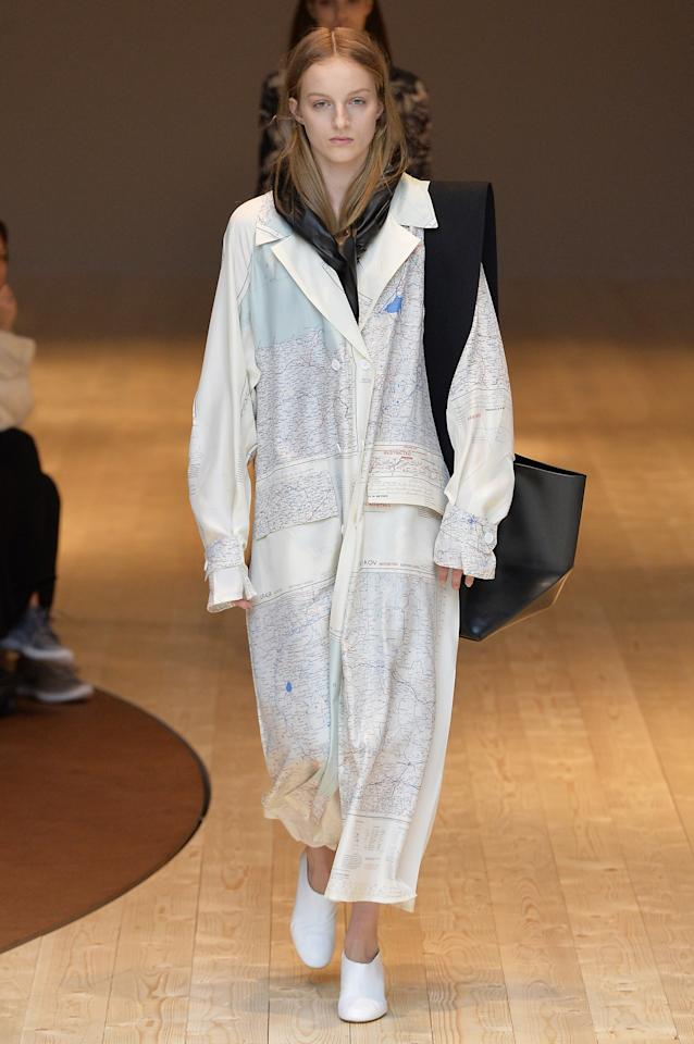 <p>At Céline, Phoebe Philo sent out strong coats, billowy dresses, and this standout number: a shirt dress printed with a beautiful map, will be one many girls will be after come fall.</p>