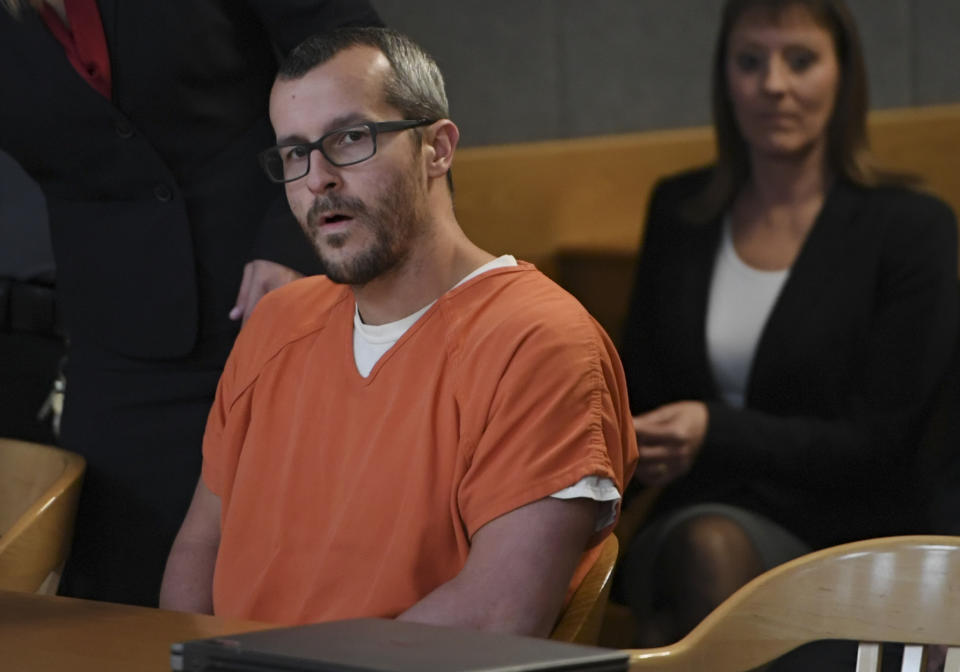 Christopher Watts sits in court for his sentencing hearing at the Weld County Courthouse in November 2018.